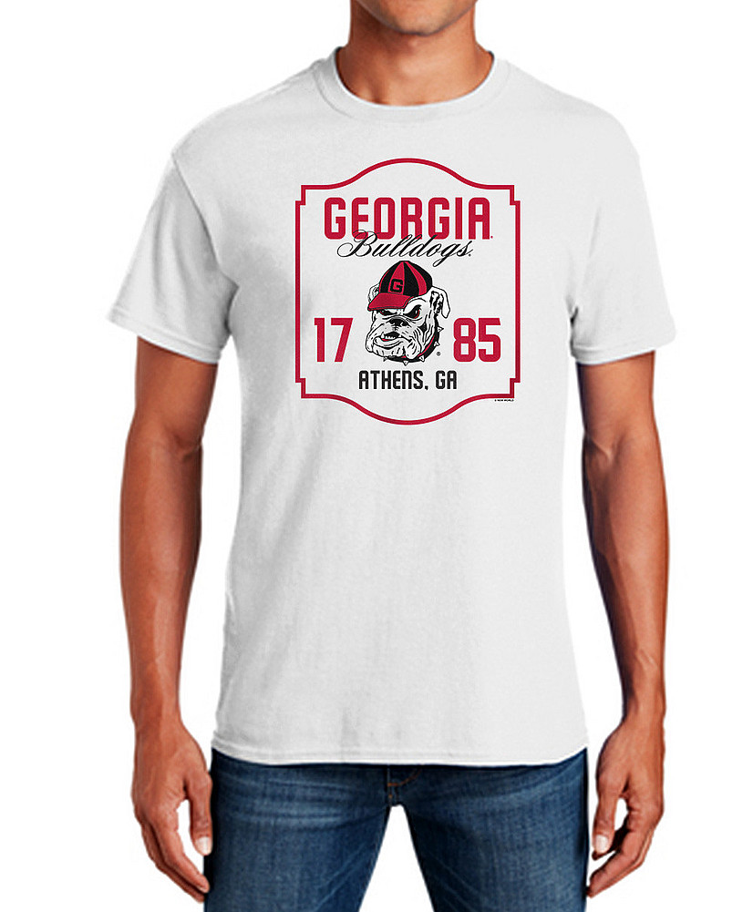 save off e4f10 8f1ea Georgia Bulldogs TShirt Varsity White Team APC03006376