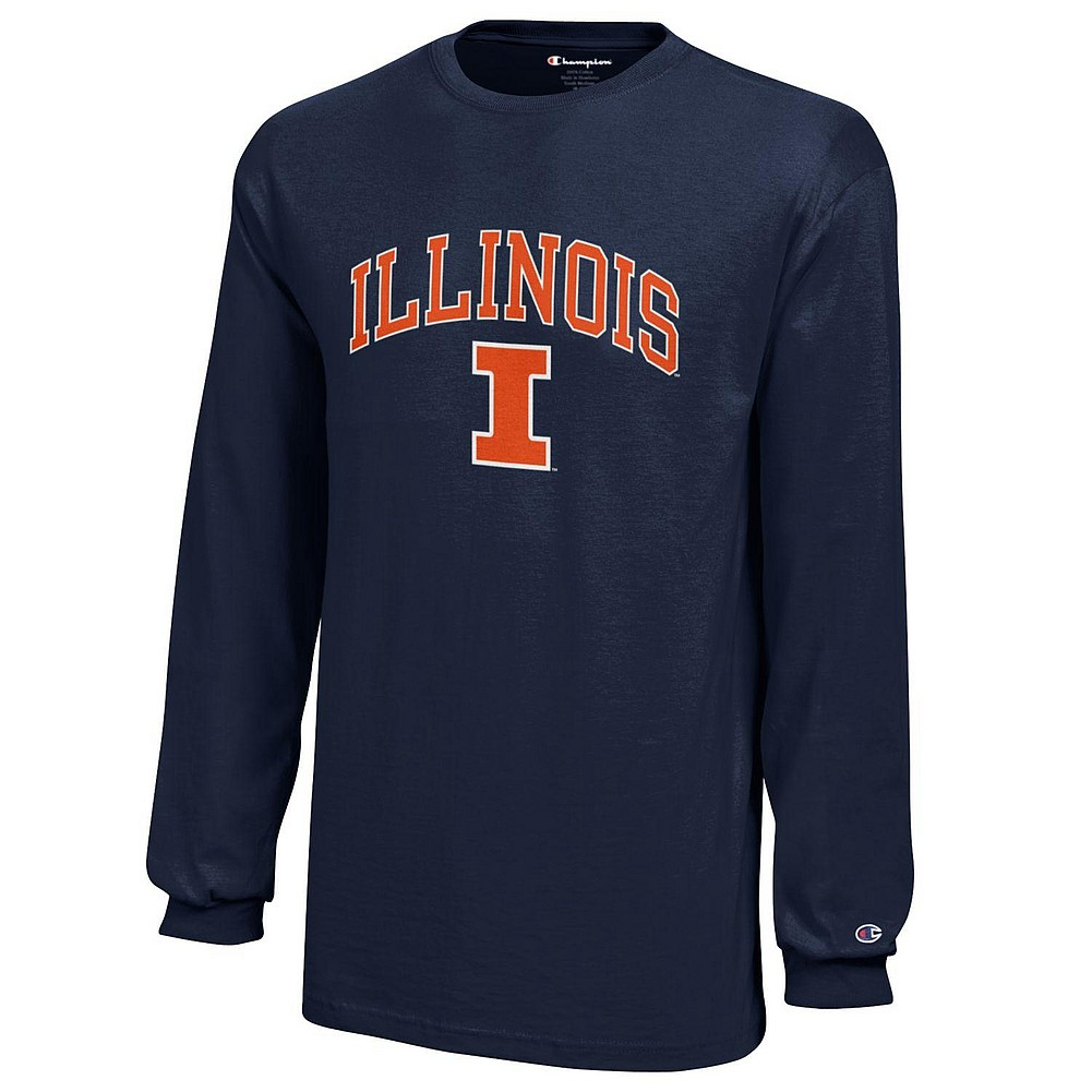 separation shoes 1cce3 37ec4 Illinois Fighting Illini Kids Long Sleeve TShirt Arch Navy APC03008482