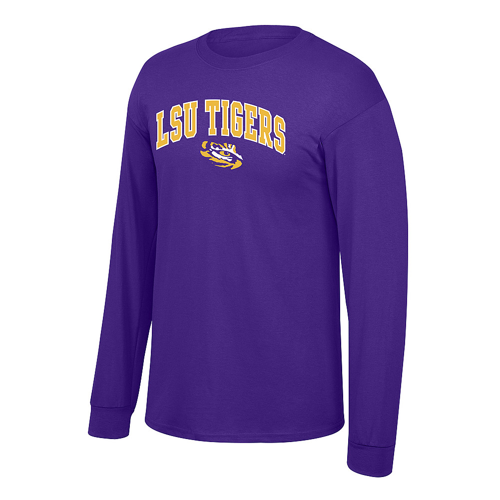 ce8402719e74 LSU Tigers Long Sleeve TShirt Arch Over Eye Purple P0004969
