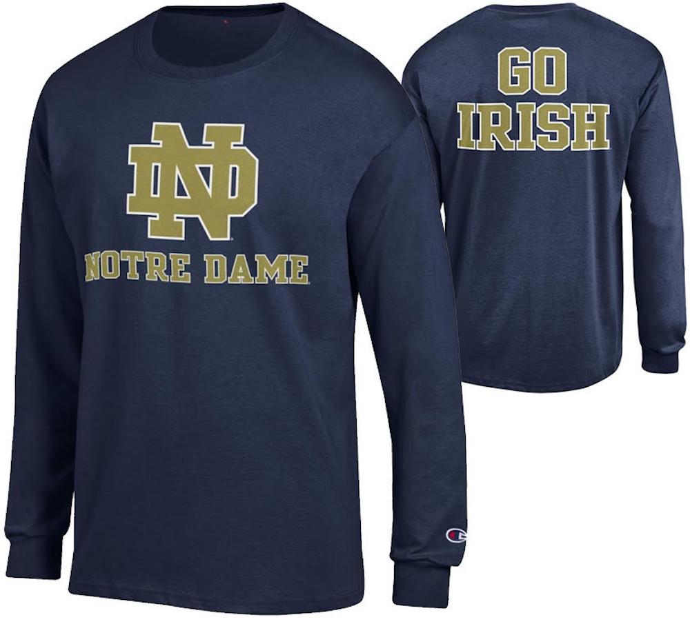 Notre Dame Fighting Irish Long Sleeve Tshirt Back Front Navy