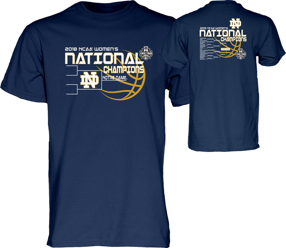 5131a2c9114 Notre Dame Fighting Irish National Champs T Shirt Womens Basketball 2018  Navy Bracket