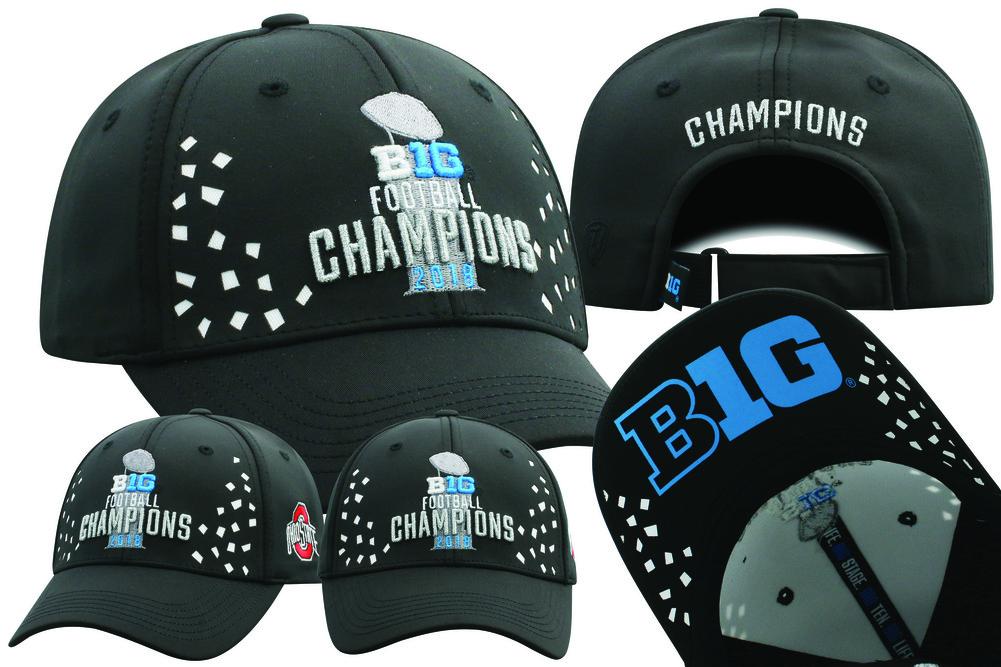 9842b940956 Ohio State Buckeyes Big 10 Champs Hat 2018 Locker Room BG10M-FTBLC ...