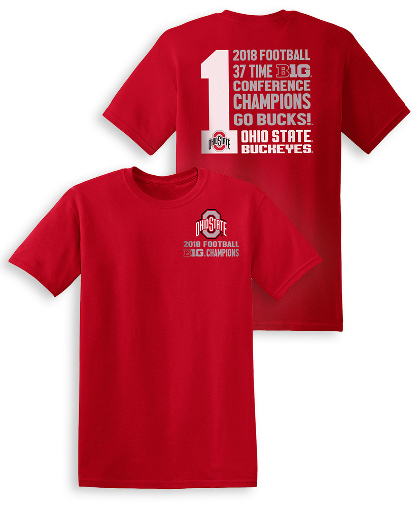 d6b16133b2e99 Ohio State Buckeyes Big Ten Champs Tshirt 2018 Left Chest Red ...