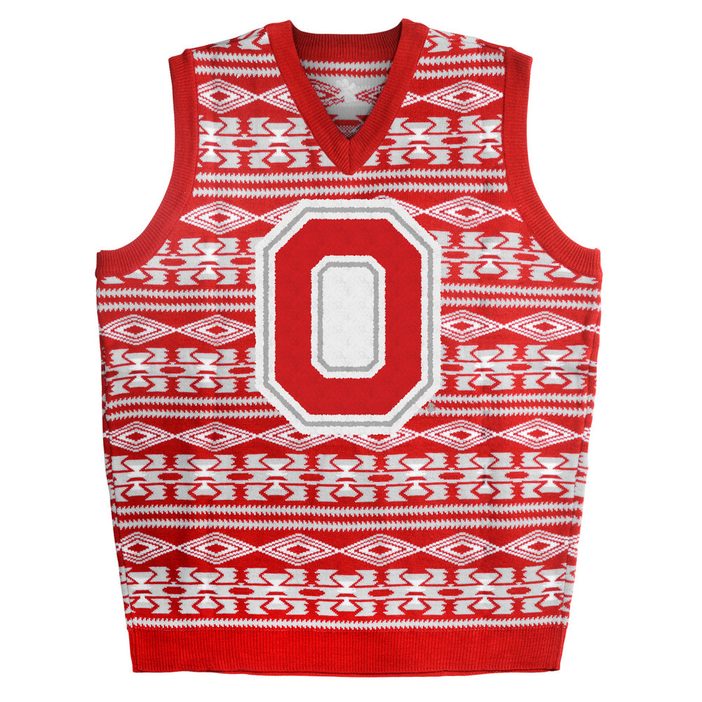 Ohio State Buckeyes Ugly Christmas Sweater Vest