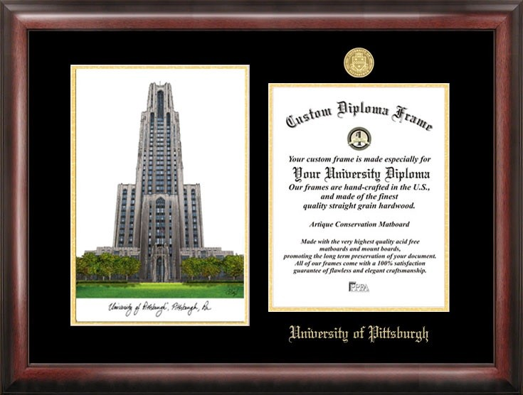 University of Pittsburgh Gold Embossed Diploma Frame With Lithograph ...