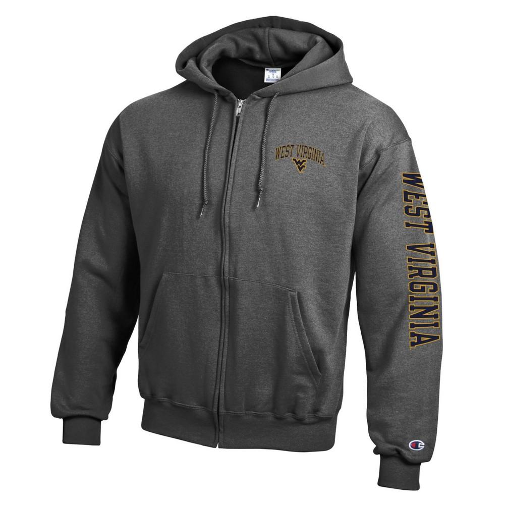 e826c07d396 WVU West Virginia Mountaineers Full Zip Hooded Sweatshirt Letterman Heather  Gray
