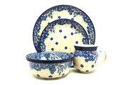 Ceramika Artystyczna Polish Pottery 4-pc. Place Setting with Standard Bowl - Blue Bayou S25-1975a (Ceramika Artystyczna)