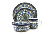 Ceramika Artystyczna Polish Pottery 4-pc. Place Setting with Standard Bowl - Blue Chicory S25-976a (Ceramika Artystyczna)