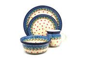 Ceramika Artystyczna Polish Pottery 4-pc. Place Setting with Standard Bowl - Cherry Jubilee S25-2284a (Ceramika Artystyczna)