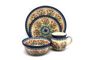 Ceramika Artystyczna Polish Pottery 4-pc. Place Setting with Standard Bowl - Crimson Bells S25-1437a (Ceramika Artystyczna)