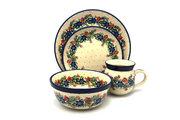 Ceramika Artystyczna Polish Pottery 4-pc. Place Setting with Standard Bowl - Garden Party S25-1535a (Ceramika Artystyczna)