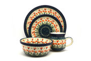 Ceramika Artystyczna Polish Pottery 4-pc. Place Setting with Standard Bowl - Peach Spring Daisy S25-560a (Ceramika Artystyczna)