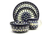 Ceramika Artystyczna Polish Pottery 4-pc. Place Setting with Standard Bowl - Peacock S25-054a (Ceramika Artystyczna)