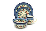 Ceramika Artystyczna Polish Pottery 4-pc. Place Setting with Standard Bowl - Red Robin S25-1257a (Ceramika Artystyczna)