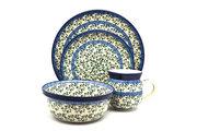 Ceramika Artystyczna Polish Pottery 4-pc. Place Setting with Standard Bowl - Terrace Vines S25-1822a (Ceramika Artystyczna)