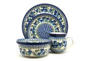 Ceramika Artystyczna Polish Pottery 4-pc. Place Setting with Standard Bowl - Winter Viola S25-2273a (Ceramika Artystyczna)