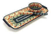 Ceramika Artystyczna Polish Pottery Appetizer Serving Set - Peach Spring Daisy S41-560a (Ceramika Artystyczna)