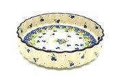 "Ceramika Artystyczna Polish Pottery Baker - Fluted Quiche - Small (7"") - Plum Luck 910-2509a (Ceramika Artystyczna)"