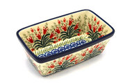 Ceramika Artystyczna Polish Pottery Baker - Mini Loaf Pan - Crimson Bells 238-1437a (Ceramika Artystyczna)