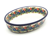 Ceramika Artystyczna Polish Pottery Baker - Oval - Medium - Garden Party 298-1535a (Ceramika Artystyczna)
