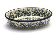 Ceramika Artystyczna Polish Pottery Baker - Oval - Small - Blue Bells 299-1432a (Ceramika Artystyczna)