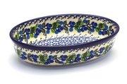 Ceramika Artystyczna Polish Pottery Baker - Oval - Small - Blue Berries 299-1416a (Ceramika Artystyczna)