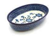 Ceramika Artystyczna Polish Pottery Baker - Oval - Small - Blue Poppy 299-163a (Ceramika Artystyczna)