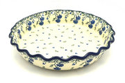 Ceramika Artystyczna Polish Pottery Baker - Pie Dish - Fluted - Blue Clover 636-1978a (Ceramika Artystyczna)