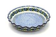 Ceramika Artystyczna Polish Pottery Baker - Pie Dish - Fluted - Blue Pansy 636-1552a (Ceramika Artystyczna)