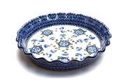 Ceramika Artystyczna Polish Pottery Baker - Pie Dish - Fluted - Blue Poppy 636-163a (Ceramika Artystyczna)