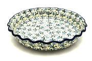 Ceramika Artystyczna Polish Pottery Baker - Pie Dish - Fluted - Forget-Me-Knot 636-2089a (Ceramika Artystyczna)