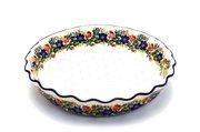 Ceramika Artystyczna Polish Pottery Baker - Pie Dish - Fluted - Garden Party 636-1535a (Ceramika Artystyczna)