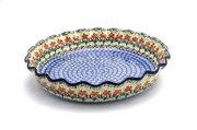 Ceramika Artystyczna Polish Pottery Baker - Pie Dish - Fluted - Maraschino 636-1916a (Ceramika Artystyczna)