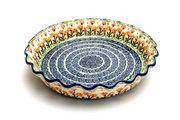 Ceramika Artystyczna Polish Pottery Baker - Pie Dish - Fluted - Peach Spring Daisy 636-560a (Ceramika Artystyczna)