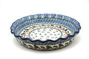 Ceramika Artystyczna Polish Pottery Baker - Pie Dish - Fluted - Red Robin 636-1257a (Ceramika Artystyczna)