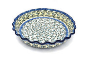 Ceramika Artystyczna Polish Pottery Baker - Pie Dish - Fluted - Terrace Vines 636-1822a (Ceramika Artystyczna)