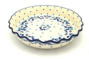 Ceramika Artystyczna Polish Pottery Baker - Pie Dish - Fluted - White Poppy 636-2222a (Ceramika Artystyczna)