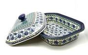 Ceramika Artystyczna Polish Pottery Baker - Rectangular Covered - Blue Chicory 665-976a (Ceramika Artystyczna)