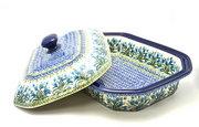 Ceramika Artystyczna Polish Pottery Baker - Rectangular Covered - Large - Blue Bells 665-1432a (Ceramika Artystyczna)
