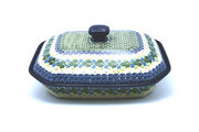 Ceramika Artystyczna Polish Pottery Baker - Rectangular Covered - Large - Ivy Trail 665-1898a (Ceramika Artystyczna)