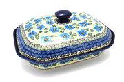 Ceramika Artystyczna Polish Pottery Baker - Rectangular Covered - Large - Morning Glory 665-1915a (Ceramika Artystyczna)