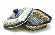 Ceramika Artystyczna Polish Pottery Baker - Rectangular Covered - Large - Peach Spring Daisy 665-560a (Ceramika Artystyczna)