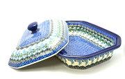Ceramika Artystyczna Polish Pottery Baker - Rectangular Covered - Large - Wisteria 665-1473a (Ceramika Artystyczna)