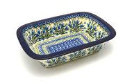 Ceramika Artystyczna Polish Pottery Baker - Rectangular with Grip Lip - Blue Bells 162-1432a (Ceramika Artystyczna)