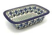 Ceramika Artystyczna Polish Pottery Baker - Rectangular with Grip Lip - Blue Chicory 162-976a (Ceramika Artystyczna)