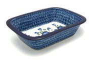 Ceramika Artystyczna Polish Pottery Baker - Rectangular with Grip Lip - Blue Poppy 162-163a (Ceramika Artystyczna)