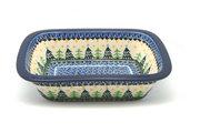 Ceramika Artystyczna Polish Pottery Baker - Rectangular with Grip Lip - Christmas Trees 162-1284a (Ceramika Artystyczna)