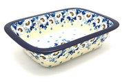 Ceramika Artystyczna Polish Pottery Baker - Rectangular with Grip Lip - White Poppy 162-2222a (Ceramika Artystyczna)