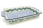 Ceramika Artystyczna Polish Pottery Baker - Rectangular with Tab Handles - 12 cups - Blue Berries A56-1416a (Ceramika Artystyczna)