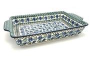 Ceramika Artystyczna Polish Pottery Baker - Rectangular with Tab Handles - 12 cups - Blue Chicory A56-976a (Ceramika Artystyczna)